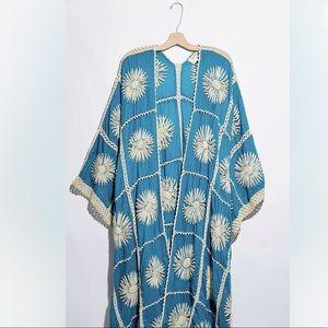 New Free People MOMO Crochet Turquoise Kimono